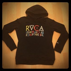 RVCA black hoodie, with side pockets, Size M